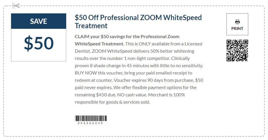 $50 Off Professional ZOOM WhiteSpeed Treatment
